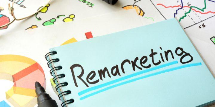 Remarketing written on a notepad sheet. Marketing concept.